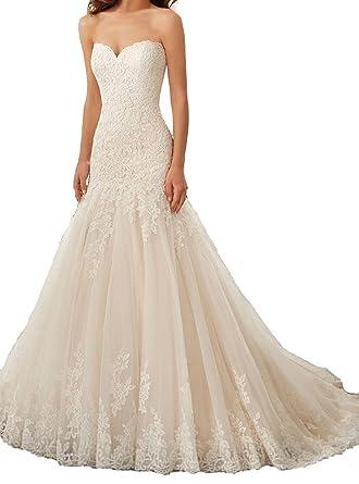 24c439587b0 Baixia Linie Spitze Applique Hochzeitskleider Braut Ballkleider  Amazon.de   Bekleidung
