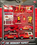 Fire Emergency Playset- 15 Pieces Including 4 Die-cast Fire Engines/ Vehicles by Tesco