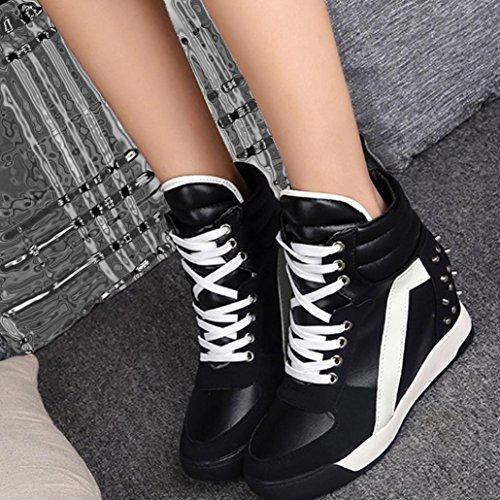 Big Women Hidden Promotion Travel Black Casual Shoes Heel Lace up Rivet Autumn MRELT Shoes r6rwEqS