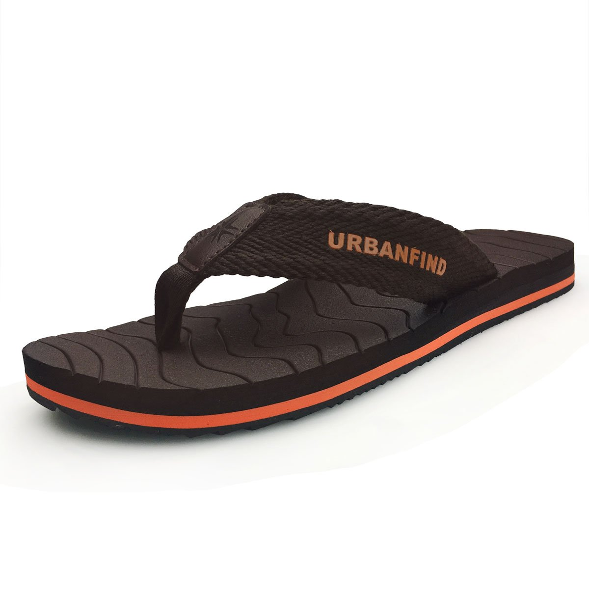 URBANFIND Men's Thongs Flip Flop Sandals Comfortable Athletic Arch Support Beach Shower Slippers Weave Brown, 8 D(M) US