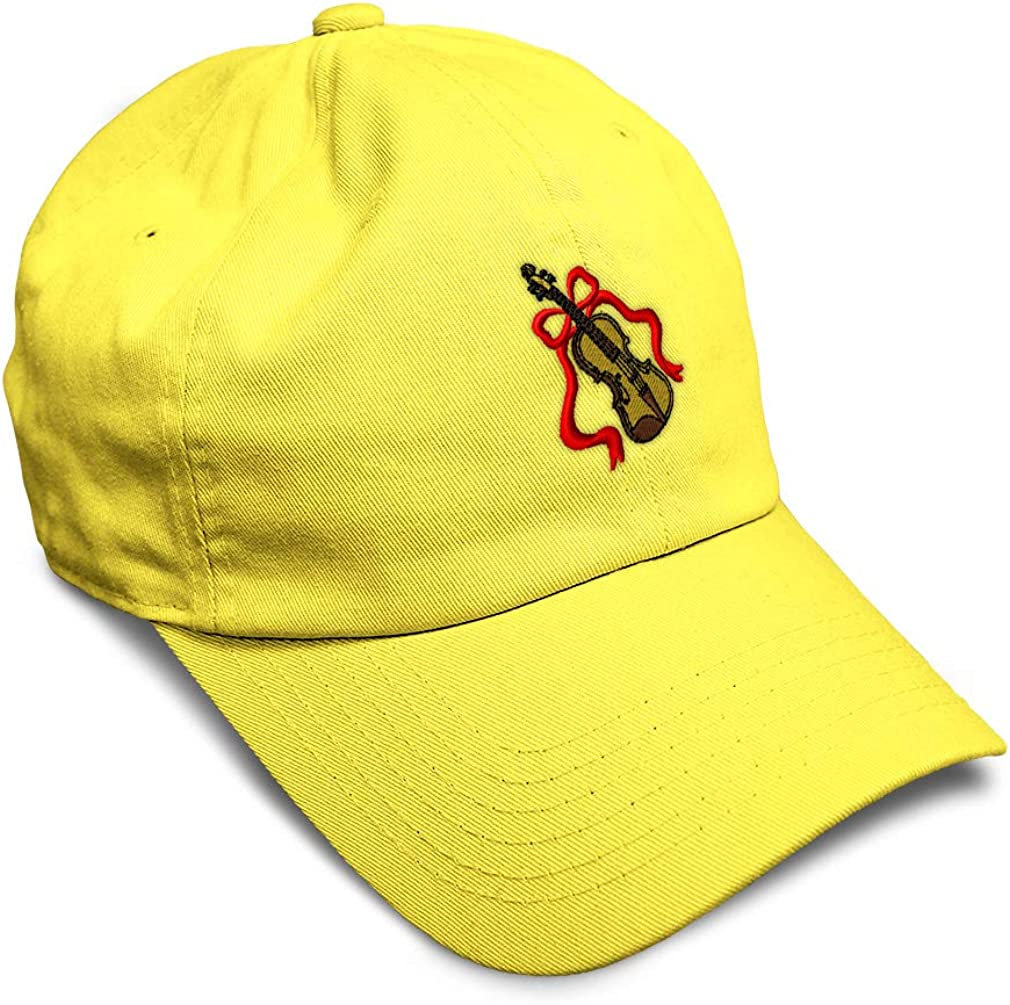 Custom Soft Baseball Cap Violin with Ribbon Embroidery Dad Hats for Men /& Women