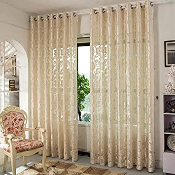 Sheer Window Vorhänge Premium Transparent Jacquard Gestickte Hollow  Wohnzimmer / Drapieren / Tafeln / Behandlung Größe