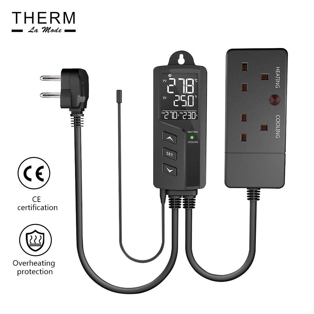 Regolatore di temperatura digitale due bocche di riscaldamento e raffreddamento pre-cablate Plug-and-Play display LCD presa UE spina con sensore STC-1000Pro gradi centigradi e Fahrenheit