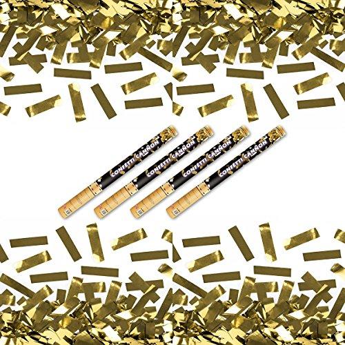 4 x goldener Konfetti Regen 60 cm Kanone Shooter Konfettibombe Partypopper Hochzeit ®Kleenes Traumhandel