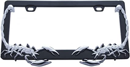 Metal Chrome Scorpion License Plate Frame