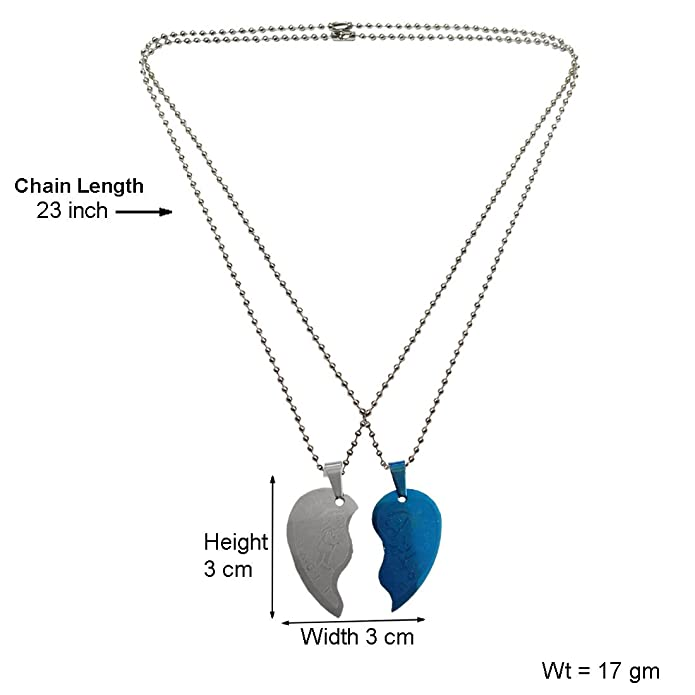 86392c7b62 Menjewell Heart Jewellery Collection Blue:Silver Connecting Hearts Names  Engraved Couples Pendant: Amazon.in: Jewellery
