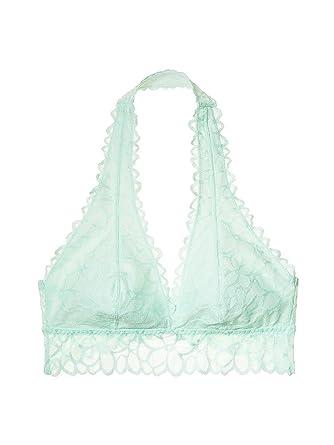 7b5d3f44979c9 Victoria s Secret PINK Unlined Floral Lace Halter Bralette Large (A-C)  Pistachio Cream