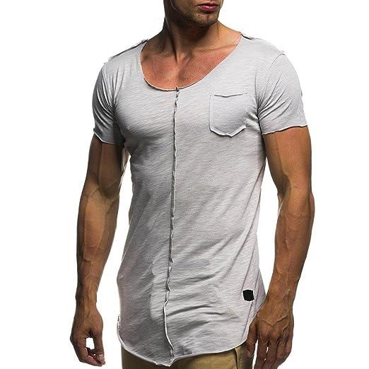 Camiseta y polos basica,Beikoard La personalidad de los hombres de moda Casual Slim Camisa
