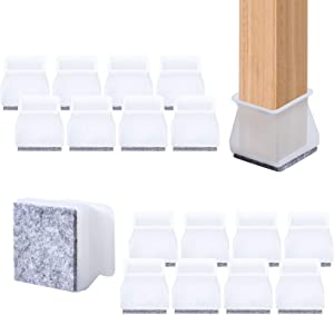Furniture Chair Leg Cups 32Pcs 2-in-1 Silicone Felt Combination Transparent Floor Furniture Chair Protectors Table Feet Pads Cover Leg Caps Silicone Prevents Scratches and Noise Without Marks Leaving