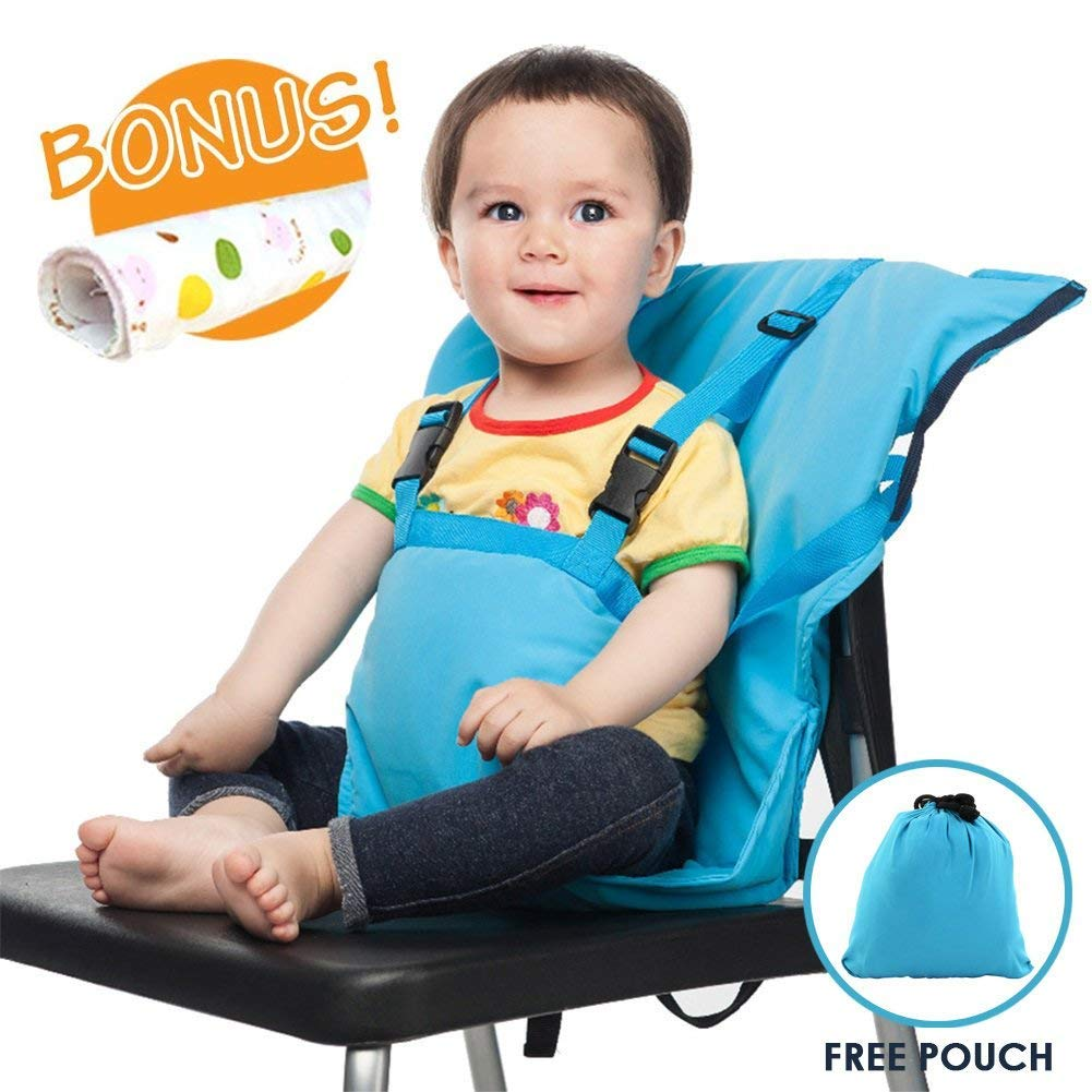 Portable Travel Baby High Chair Feeding Booster Safety Seat Harness Cover Sack Cushion Bag Baby Kid Toddler Universal Size 44 lbs Capacity Soft Cotton Adjustable Straps Shoulder Belt Hand Wash Cloth