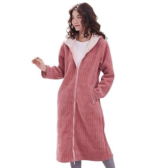 HGDR Vestido De Lana Rosa con Capucha para Mujer Batas De Baño Franela De Las Mujeres Cremallera De La Bata Capa De Casa Ropa De Dormir Longitud De La ...
