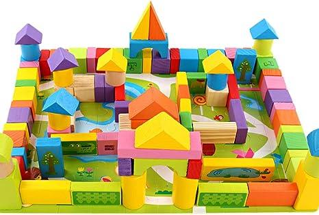 MZWJ Bloques de construcción de jardín de Color para niños de Madera ensamblaje de Juguetes Juguetes Apilados 100 cápsulas: Amazon.es: Deportes y aire libre
