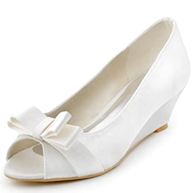 ElegantPark WP1402 Women Peep Toe Pumps Bows Mid Heel Wedges Satin Wedding  Bridal Shoes Ivory US