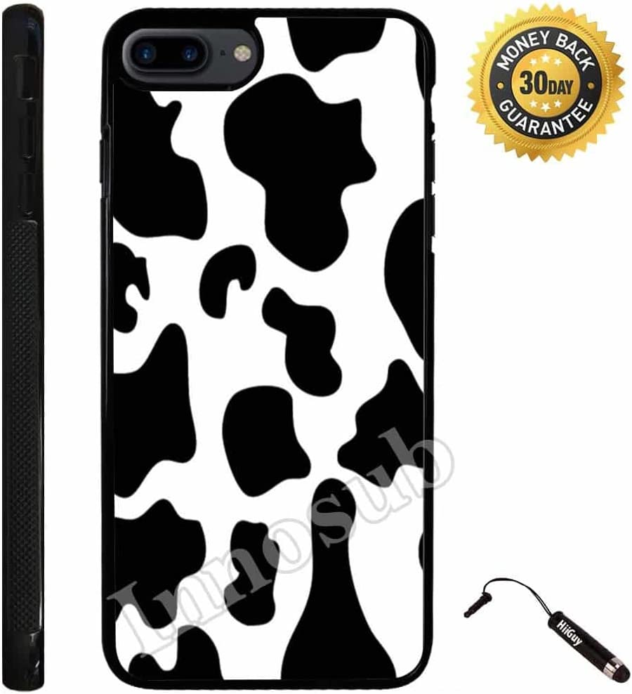 Custom iPhone 7 Plus Case (Cow Print) Edge-to-Edge Rubber Black Cover with Shock and Scratch Protection | Lightweight, Ultra-Slim | Includes Stylus Pen by Innosub