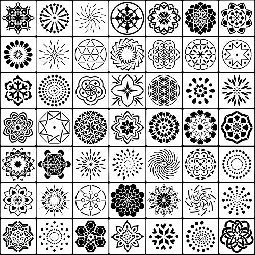 SUBANG 36 Pack Mandala Dot Painting Templates Stencils for Painting on Wood, Fabic, Glass, Metal and Walls Art (3.5x3.5inch)
