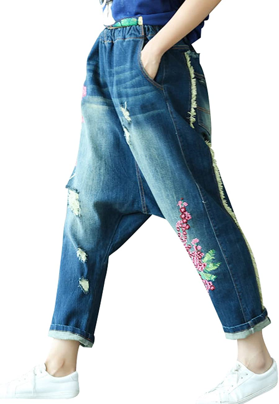 Youlee Donne Vita Elastica Ricamato Goccia Pantaloni Cavallo Fori Jeans Pantaloni Harem