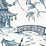 Pagodas Seaside Blue Oriental Toile 90'' Round Tablecloth Cotton