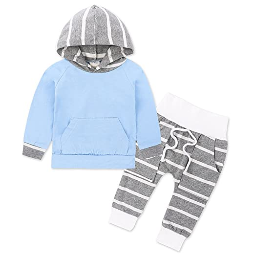 584448bca5b9a Amazon.com: WINZIK Newborn Baby Boys Girls Kids Outfits Solid Color ...