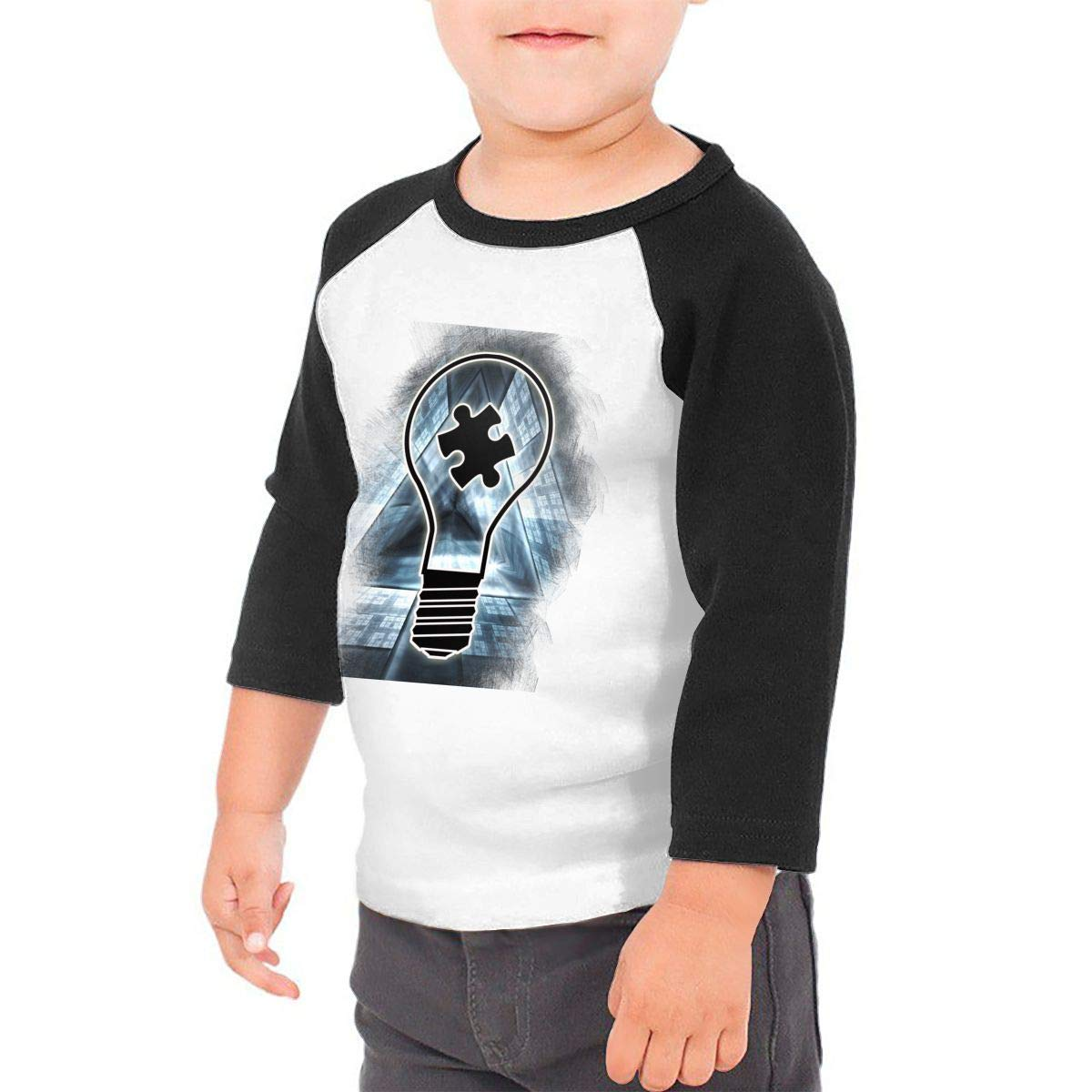 Manlee Lightbulb Autism Awareness Unisex 100/% Cotton Childrens 3//4 Sleeves T-Shirt Top Tees 2T~5//6T