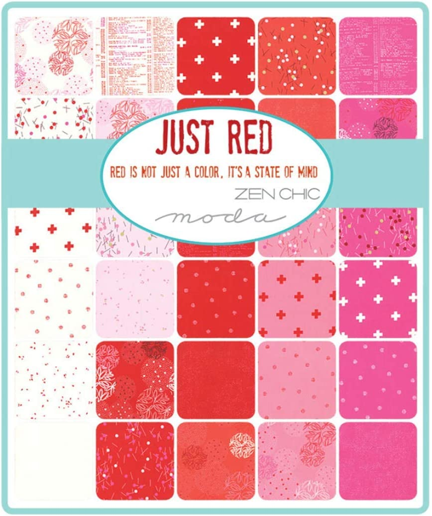 Just Red Jelly Roll 40 2.5-inch Strips by Zen Chic for Moda Fabrics