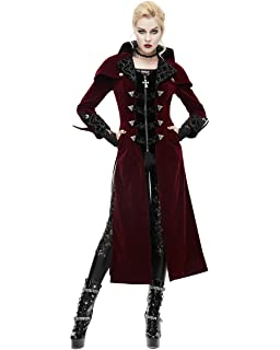 1c93cd6803e6cd Devil Fashion Womens Coat Long Jacket Red Black Velvet Goth Steampunk  Aristocrat