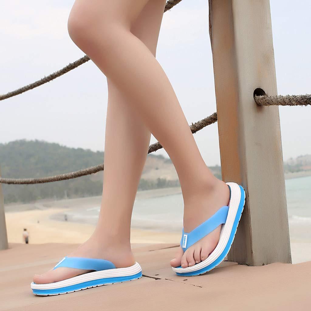 LHWY Sandalen Damen Sommer L/ässige Frauen Weiche Bottom Beach Schuhe Flache Klippzehe Rainbow Flip-Flops Strand Hausschuhe