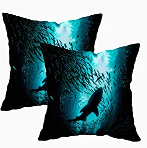 KIOAO Fall Pillow Case, Standard 2Sets 18X18Inch Soft Pillowcase Covers Shark in School of Fish Shot from Below Printed with Both Sides,Christmas Day