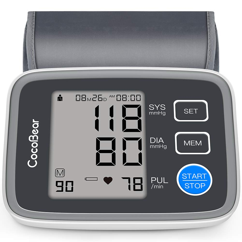 Blood Pressure Monitor, CocoBear Upper Arm Blood Pressure Cuff Monitor Digital Automatic BP Monitor for Home Use 2*90 Memory Storage with FDA CE RoHS Certificate