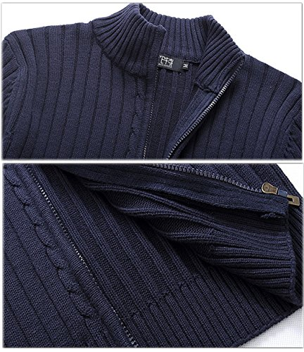 Yeokou Men s Casual Autumn Stand Collar Full Zip Up Knitted Cardigan Sweater 0bd313541