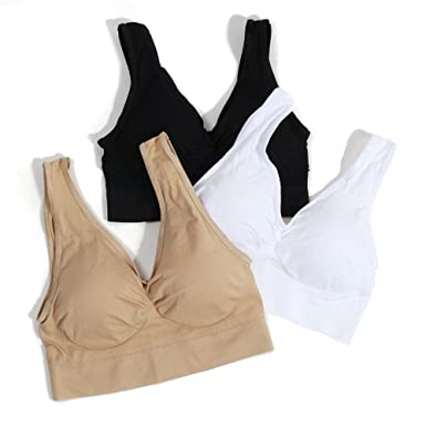 93a9a0291e567 Yoli 3-Pack New Seamless Sports Style Bra Crop Top Vest Comfort Stretch Bras  Shapewear Christmas Thanksgiving  Amazon.co.uk  Clothing