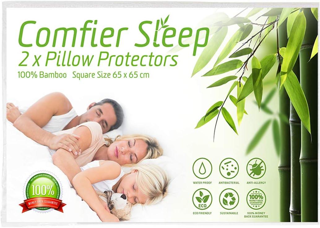 2 unidades, 50 x 75 cm Comfier Sleep Protectores de almohada impermeables con cremallera antial/érgica y 100/% bamb/ú