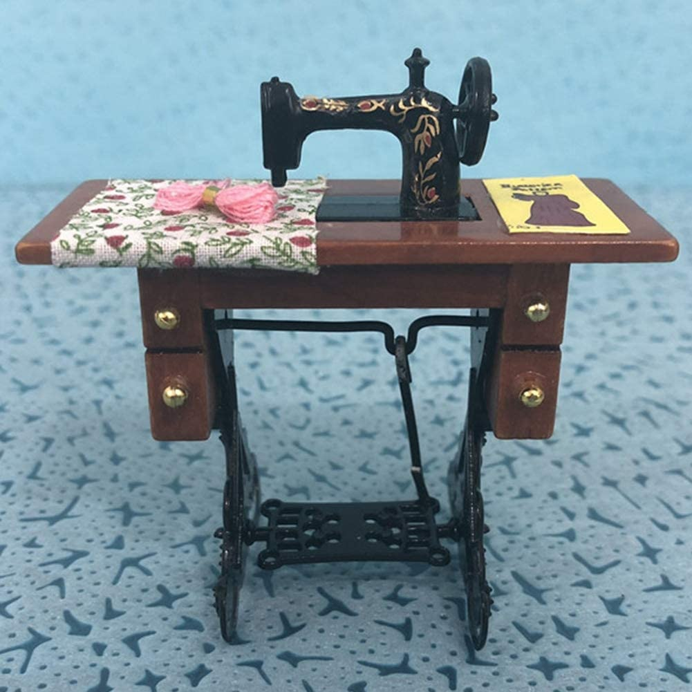Deryang Miniature Exquisite Workmanship Harmless 1:12 Sewing Machine, Doll House Furniture Toy, Vintage Doll House Sewing Machine, Non-Toxic for 1:12 Dolls Dollhouse