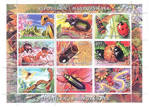 Nature, Wildlife and Animal collectables - Souvenir sheet of 9 stamps of insects - 1999 / Madagascar / MNH Perfect Quality Mnh Souvenir Sheet