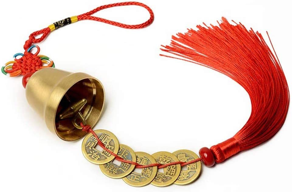 Chinese Knot Antique Coin Bell Pendant Tassel Car Hanging Feng Shui Wealth Lucky