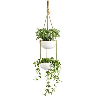 Mkono 9 Inch Ceramic Double Hanging Planter 2 Tier Round Flower Plant Pot Porcelain Hanging Basket with Polyester Rope Hanger for Indoor Outdoor Herbs Ferns Ivy Modern Vertical Garden, White: Garden & Outdoor