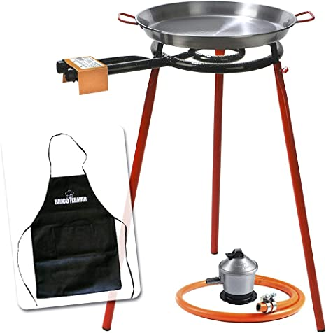 Bricolemar Paellero 35cm a Gas Garcima + Kit (Juego de Patas para paellero + Paellera 40 cm + regulador de butano + Manguera homologada Kabra + ...