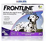 Frontline Plus for Dogs Large Dog (45 to 88 pounds) Flea and Tick Treatment, 6 Doses, Model:6.05389E+11