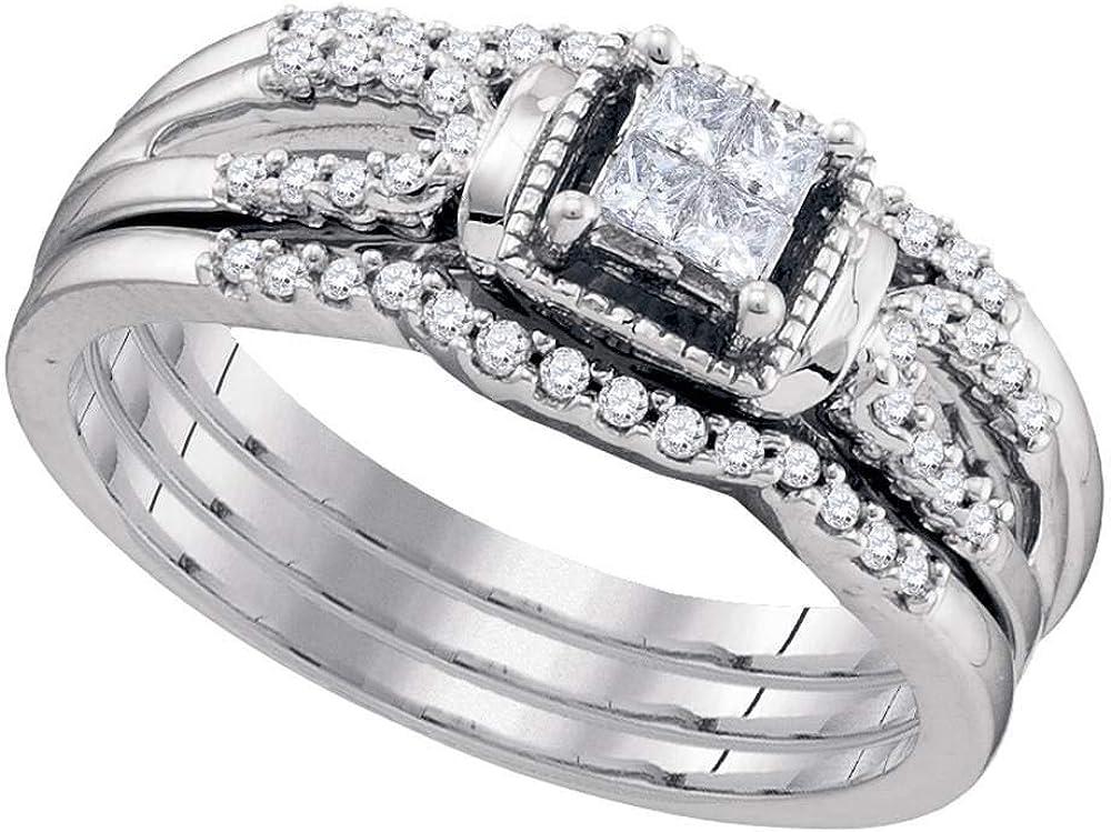 Anillo de compromiso de oro blanco de 10 quilates con diamantes de princesa, 3 piezas, para novia, boda o compromiso, 1/4 quilates de peso total para mujeres