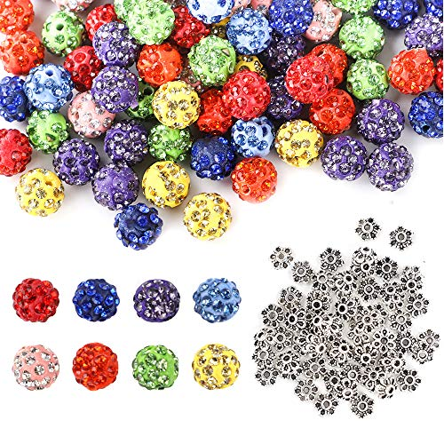 Quefe 120pcs 10mm Polymer Clay Beads Assorted Rhinestone Beads for Jewelry Making with 60pcs Spacer Beads