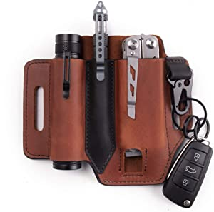 Gentlestache Multitool Sheath for Belt, Leather EDC Pocket Organizer for Men, Leatherman Sheath with Pen Holder, Key Fob, Flashlight Sheath, EDC Leather Pouch Brown