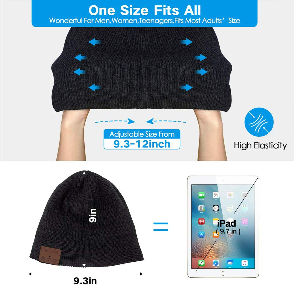 Top-Newest Bluetooth Beanie Hat for Men Women v5.0 Bluetooth Hat with Speaker Headphones Rechargeable Hanpure bluetooth Beanie Hat, Knit Washable Bluetooth Beany Hat Winter Outdoor Sports