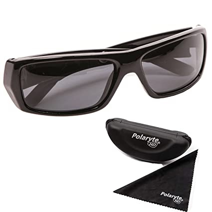 a2ffdeeaad Image Unavailable. Image not available for. Color  Polaryte HD Vision  Polarized Sunglasses For Men Women Driving Sports Golf UV Protection Black