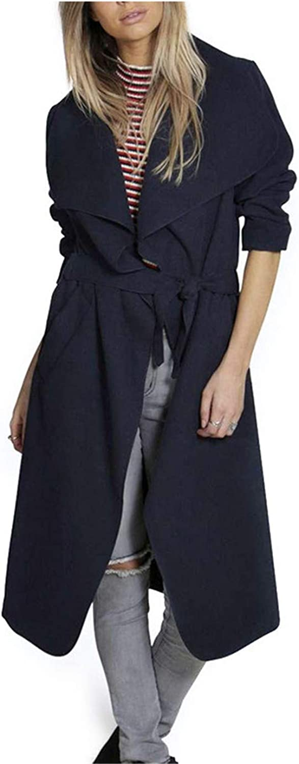Carol Chambers Autumn Woman Coat Wide Lapel Belt Coat Oversize Women Black Long Trench Coat Grey Coat Poncho