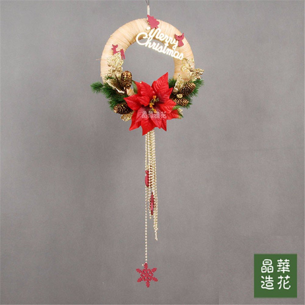 30cm pull flower garland high-end Christmas ring Christmas floral,Red