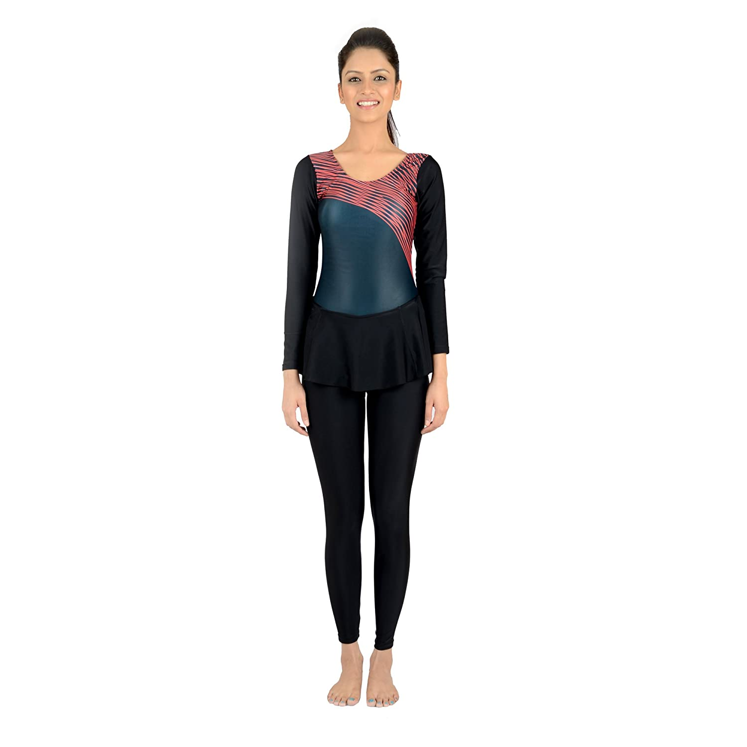 e93d0c260c Buy Veloz Women Swim Wear - Frock [Full Sleeves- Full Length] | Xtralife  Lycra | DTS Print (with Pads) - 0E Red Online at Low Prices in India -  Amazon.in