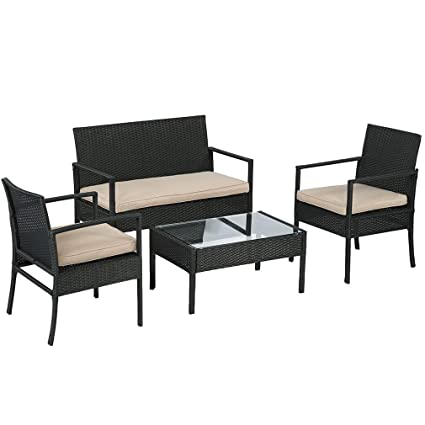 Amazon Com Bestmassage 4pc Rattan Patio Furniture Chair Set Outdoor