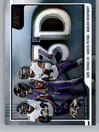 Amazon Com 2020 Score Football 3d 5 Earl Thomas Iii Marcus Peters Marlon Humphrey Baltimore Ravens Official Nfl Trading Card Made By Panini America Collectibles Fine Art