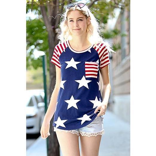 9f57fc62b8 California Sun Short Sleeve Ladies Tops USA Flag T-Shirt (L