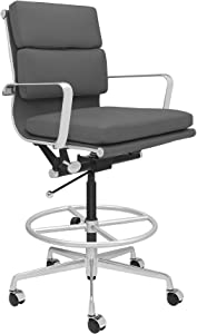 SOHO Soft Pad Drafting Chair - Ergonomically Designed and Commercial Grade Draft Height for Standing Desks (Dark Grey)