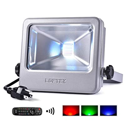 30W RGB Floodlight, LOFTEK Outdoor Color Changing Flood Light with Dimming and Memory Setting Function, Waterproof IP 66 Spotlight for Lawn and Garden, Silver